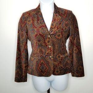Lauren Ralph Lauren Paisley Velvet Blazer Jacket
